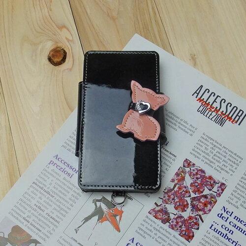 ☆エナメル 革 スマホケース 手帳型 ブラック / チワワ/イニシャル自社工場 直販価格 日本製