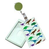 防犯パスケースランドセルレザーパスケースICカードケース2枚組リール付通学通勤機能的な定期入れカードケースギフトプレゼント恐竜