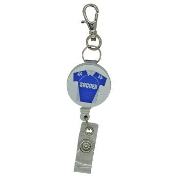 定形外郵便限定 送料無料伸縮自在の リール ストラップ キーホルダーサッカー フットサル クリップ 付きパスケースや名札 ストラップ 鍵等と一緒に