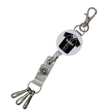 定形外郵便限定 送料無料伸縮自在のリールストラップ キーホルダー 3連フック付き 野球 ベースボール名札 ストラップ 鍵等と一緒に