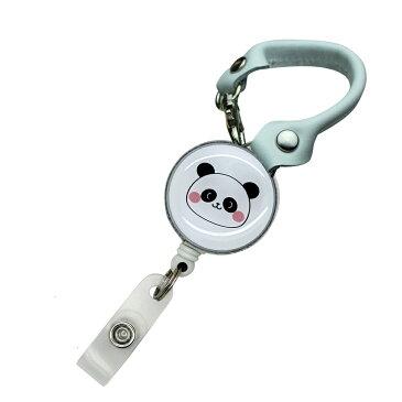 定形外郵便限定 送料無料パンダ 肉球 リール付き ショートストラップ バックストラップ パスケースや鍵用に