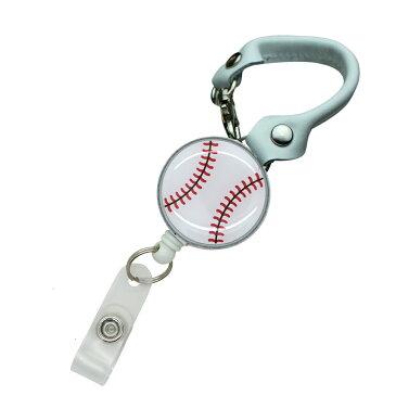 定形外郵便限定 送料無料野球 ベースボール リール付き ショートストラップ バックストラップ パスケースや鍵用に