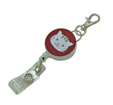 定形外郵便限定 送料無料伸縮自在のリールストラップ キーホルダークリップ付き 動物 ネコ イヌ パスケースや名札 ストラップ 鍵等と一緒に