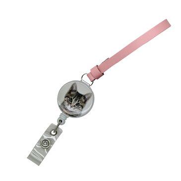 定形外郵便限定 送料無料イヌ ネコ リール付ミニハンドストラップ 牛革 日本製 パスケースや鍵用に