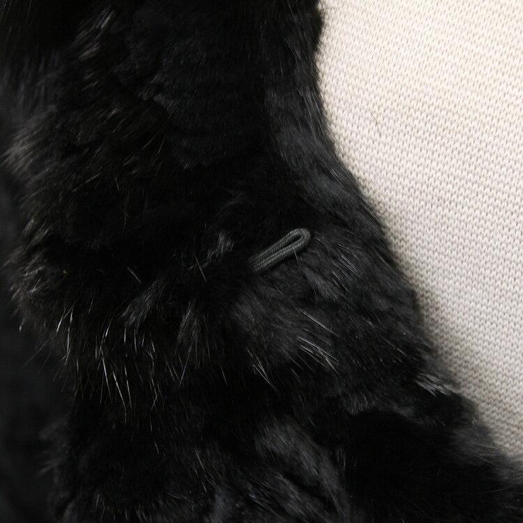ミンク ・ レッキスラビット 編み込み ファー ストール ケープ ブラック  レディース ギフト プレゼント