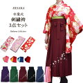 卒業式女性二尺袖着物刺繍袴3点フルセット(半巾帯付)販売購入/5サイズ6色メイン画像