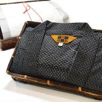 プレゼント作務衣メンズ男性さむえ木箱(竹籠)入り刺子ルームウェア部屋着/3サイズ2色メイン画像