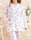 母の日パジャマレディース綿100%ダブルガーゼローズ前開き【長袖・長パンツ】【初夏・初秋向き商品】【女性ナイトウェア】【ルームウェア】【綿100%】