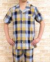 【売り尽くし】【送料無料】パジャマ メンズ 夏 半袖綿100%涼しいシワ加工生地【初夏・盛夏向き素材】【半袖・長パンツ】