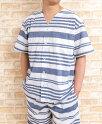 父の日メンズパジャマ夏用先染め楊柳ボーダー半袖ハーフパンツ前開きシャツタイプ【盛夏向き商品】【父の日ギフト】【男性用ナイトウェア】【ルームウェア】【LLサイズ】あり