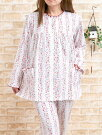 パジャマレディース春秋肌に優しい綿100%天竺ニットフラワーガーデンストライプパジャマ