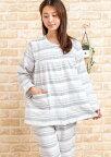 ガーゼパジャマレディース春秋肌に優しい綿100%ランダムボーダー入院準備母の日SサイズLLサイズ
