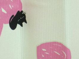 【送料無料】ファンタジーハート&ネコ柄蓄光プリント形状記憶加工カーテンラブハートピンク