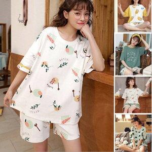 パジャマ レディース ルームウェア 半袖 部屋着 セットアップ 2点セット Tシャツ 短パン 可愛い 韓国風 ゆったり 寝巻き 女性用 コットン 寝間着 おしゃれ ナイトウェア 女子 レディース ゆったり 春 夏 上品 パンツ 短パン トップス