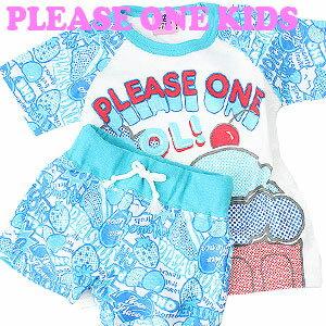 PLEASE ONE KIDS(プリーズワンキッズ) ポップアイス柄Tシャツスーツ ブルー  半袖/上下セット/部屋着/ルームウエア/女の子/子供/セール/SALE画像