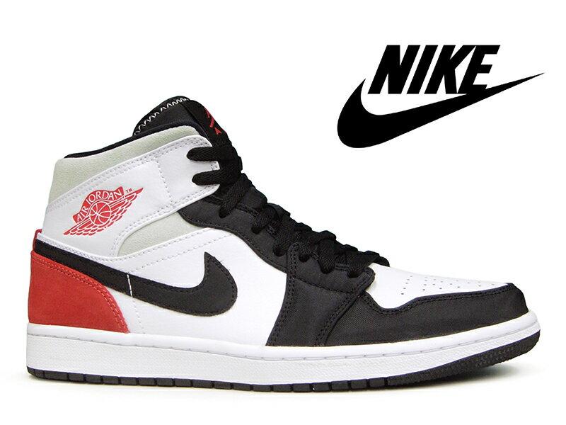 メンズ靴, スニーカー NIKE AIR JORDAN 1 MID SE WHITETRACK RED-BLACK-IGLOO (UNION) 1 -- BLACK TOE