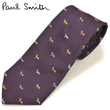 スーパーセール!ネクタイ ポールスミス Paul Smith メンズ ドッグ柄 犬柄 シルク サイズ剣幅8cm eps18w008 AE31-59 パープル