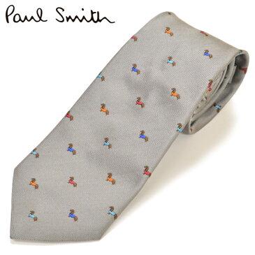 スーパーセール!ネクタイ ポールスミス Paul Smith メンズ ドッグ柄 犬柄 シルク サイズ剣幅8cm eps18w009 AE31-70 ライトグレー
