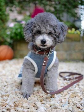 首輪とリードセット サドルレザー 小型犬 中型犬用 チョコ 1.5cm幅【売れ筋】【オススメ】