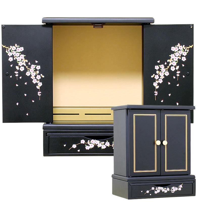 【12月上旬入荷予定】ミニ仏壇・桜【仏壇】【小型仏壇】名の通り扉に桜の花が描かれた女性から選ばれているミニ仏壇。可愛らしさと凜とした美しさが備わったミニなのに存在感もあるお仏壇です