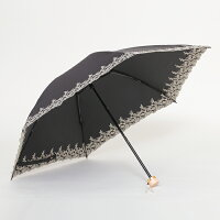 UV遮熱遮光ミニ傘花柄50cm×6本骨晴雨兼用<クールプラス>ブラック