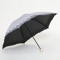 UV遮熱遮光ミニ傘花柄50cm×6本骨晴雨兼用<クールプラス>シャンブレーグレー
