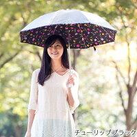 UV晴雨兼用折りたたみ傘シルバー/チューリップブラック