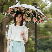 UV晴雨兼用遮光折傘アンティークゴールド/花柄