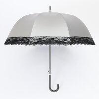 UV晴雨兼用ジャンプ傘縁レース55cm×8本骨【LIEBEN-1442】<ひんやり傘>