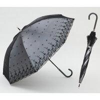 【UVカット率99%15分後に8℃以上の差遮熱日傘】UV長傘シルバーレース55cm花柄<ひんやり傘>