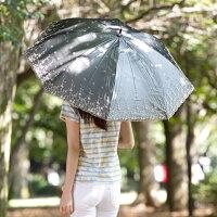【UVカット率99%真夏に差が出る遮熱・遮光日傘】UV長傘シルバーレース55cm×8本骨花柄<ひんやり傘>日がさ
