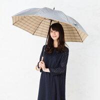UV晴雨兼用長傘シルバー/先染チェックベージュ×レッド