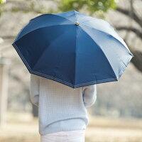 遮光折傘クールプラスステッチ50cm×8本骨【LIEBEN-0527】