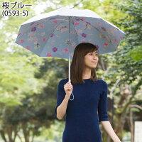 UV晴雨兼用折りたたみ傘シルバー/桜ブルー