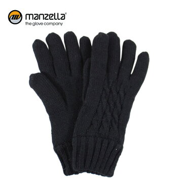 MANZELLA/マンツェラ グローブ CABLE KNIT GLOVE/BLK