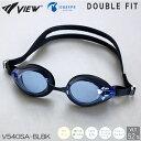 【スイムゴーグル】VIEW ビュー クッション付き スイミングゴーグル クリアタイプ スワイプアンチフォグ DOUBLE FIT(ダブルフィット) 水泳 V540SA-BLBK