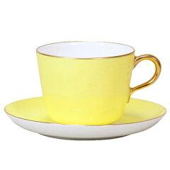 皇室御用達 大倉陶園 イエロー蒔き モーニングカップ&ソーサー 【ギフト 出産内祝 結婚内祝 …