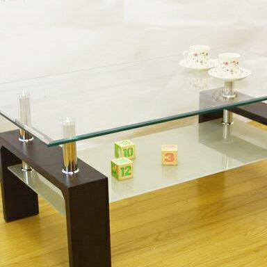 モダンガラスセンターテーブル120::中棚ミストガラス使用::画像2