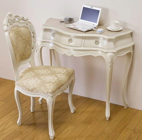 シンデレラ机&チェアー:::姫系インテリアロココ調ホワイトクラシックヨーロピアンロマンティック家具:画像1
