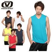 ビジョンクエスト VISION QUEST スポーツウェア 半袖 メンズM Vネックノースリーブ機能シャツVQ450201E03