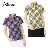 ディズニー Disneyゴルフ 半袖ポロシャツ レディースマドラスチェック半袖シャツ6286-1653