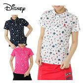 ディズニー Disneyゴルフ 半袖ポロシャツ レディースフランス飛び柄半袖シャツ6286-1655