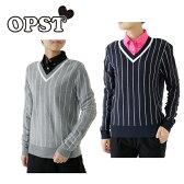 オプスト OPSTゴルフ レディースストライプVネックセーターOP220404F02
