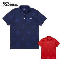 タイトリストTitleistゴルフウェアポロシャツメンズ星柄ボタンダウンシャツTSMC1707