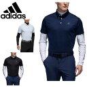 アディダス ゴルフウェア シャツセット メンズ スリーストライプス レイヤードボタンダウンシャツ FVE69 adidas