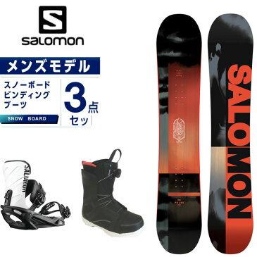 サロモン スノーボード 3点セット メンズ ボード+ビンディング+ブーツ PULSE + RHYTHM BK/WHT リズム salomon