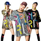 ダンス衣装スパンコールtシャツトップス大人上着半袖ロングダンスウェアキラキラレディースファッションスタイル個性的コスチュームパーティーグッズコスプレ衣装ダンス衣装HIPHOP・DANCEイベント/発表会