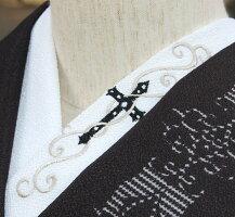 ★クロス(十字架)・黒★☆刺繍半襟ひめ吉オリジナルデザイン☆カッコイイシンプル必須アイテム☆大人半襟★ワンポイント半襟