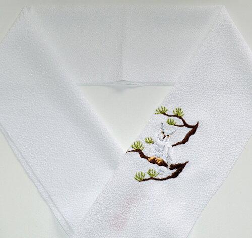 ★白ふくろう★刺繍半襟ひめ吉オリジナルデザイン☆シンプル鳥好き必須アイテム☆ワンポイント半襟