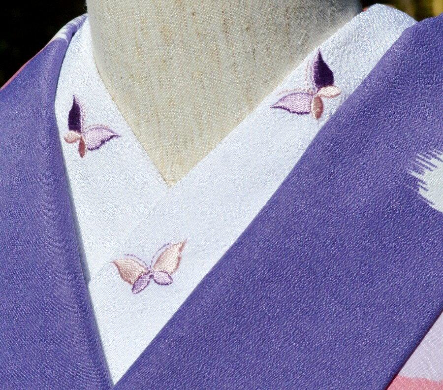 シンプル蝶半衿☆刺繍 ひめ吉オリジナルデザイン☆ワンポイント半襟☆「配送について」をお読みください。ゆうパケットは日時指定できません、ポスト投函です。